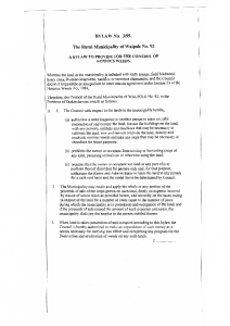 Noxious Weeds Control – Bylaw 1999 03