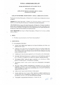 Provide and Implement a Rural Addressing System Bylaw No. 01 2020